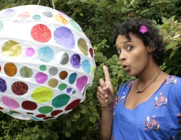 Mara Menzies with large spotty ball